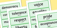 British Values Word Cards Arabic Translation
