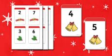 Christmas Number Bonds to 9 Matching Cards