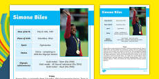 USA Olympians Simone Biles Fact File