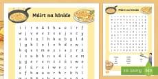 Pancake Tuesday Máirt na hInide Word Search Gaeilge