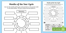 Months of the Year Circle Cut and Stick Activity Sheet