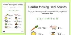 Garden Missing Final Sounds Activity Sheet