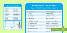 * NEW * At the Doctor's Information Cards English/Te Reo Maori
