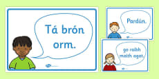 Golden Manners Words Display Posters Gaeilge