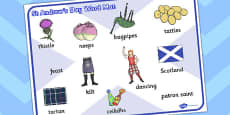 St. Andrew's Day Word Mat