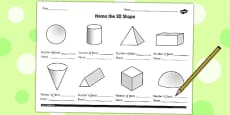 Name the 3D Shape Year 3 Activity Sheet