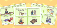 The Elves and the Shoemaker Story Sequencing 4 per A4 Arabic Translation