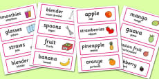 Smoothie Bar Role-Play Word Cards Romanian Translation
