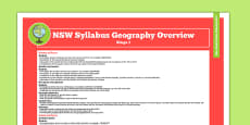 NSW Stage 1 Geography Syllabus Overview