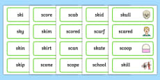 SC, SK Word Cards