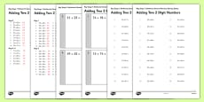 KS1 Arithmetic Content Practice Activity Sheet Pack Adding Two 2 Digit Numbers