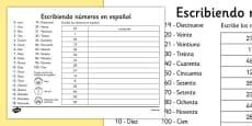 Ficha de escribir números