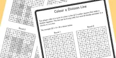Year 4 Colour the Division Equation Game Sheet