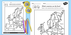 Colour in the Euro Countries Activity Sheet