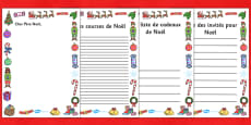 Christmas Role Play Writing Borders French