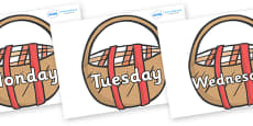 Days of the Week on Picnic Baskets to Support Teaching on The Lighthouse Keeper's Lunch