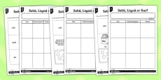 Solid Liquid or Gas Worksheet