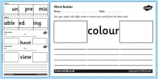 Prefix and Suffix Word Builder Cards and Activity Sheets