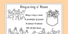 Ring-a-ring O' Roses Colouring in Sheet