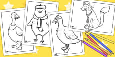 Chicken Licken Colouring Sheets