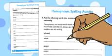 Homophones Spelling Activity