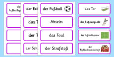Rio 2016 Olympics Football Word Cards German
