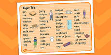 Tiger Tea Word Mat Text