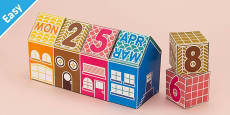 Enkl DIY Calendar Block House Printable