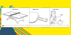 The Olympics Table Tennis Colouring Sheets