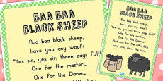 Baa Baa Black Sheep Nursery Rhyme Poster (Australia)
