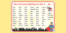 Superhero Themed Spelling List Year 2 Word Mat