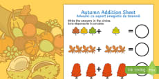Autumn Addition Sheet English/Romanian