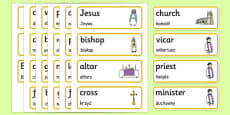 Christian Church Word Cards Polish Translation