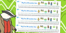 The Wind in the Willows Number Lines 0-30