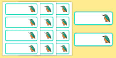 Kingfisher Themed Editable Drawer Peg Name Labels