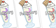 Months of the Year on Ice Cream Sundaes