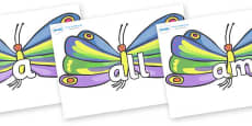 Foundation Stage 2 Keywords on Butterflies to Support Teaching on The Very Hungry Caterpillar