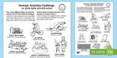 Summer Holiday Challenges Activity Sheet English/Italian
