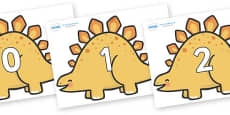 Numbers 0-31 on Stegosaurus Dinosaurs