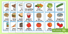 Food Word and Picture Cards - German