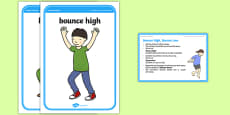 Foundation PE (Reception) Bounce High, Bounce Low Cool-Down Activity Card