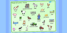 On the Farm Word Mat Romanian