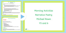 Year 5 and 6 English Morning Activities Narrative Poetry