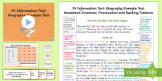 * NEW * Y4 Information Texts: Biography Model/ Example Text