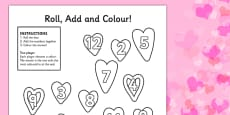 Valentine's Day Colour And Roll Activity Sheet