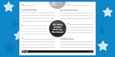 Solar Eclipse Write Up Activity Sheet