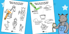 Words Colouring Sheet to Support Teaching on What's The Time, Mr Wolf?