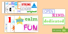 * NEW * Inspirational Adjective Words Display Posters