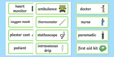 Hospital Word Cards