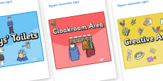 Rooster Themed Editable Square Classroom Area Signs (Colourful)